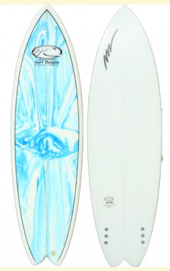 Dart Fish 6 8 Marble deck and white pigment bottom rail